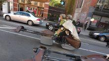 'Star Wars' speeders race through New York for epic Halloween stunt