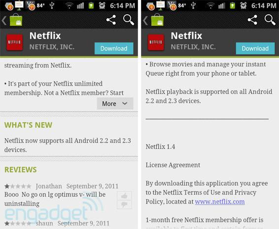 Now showing: Netflix 1.4 brings playback to 'all Android 2.2 and 2.3 devices'