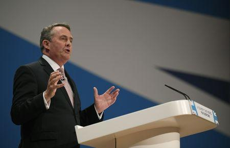 Britain's International Trade Secretary Liam Fox speaks at the Conservative Party conference in Birmingham