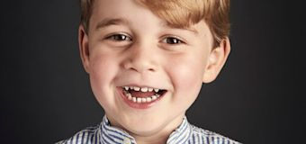 Prince George's fourth birthday sees new official portrait released showing the beaming Royal in 'fun photoshoot'