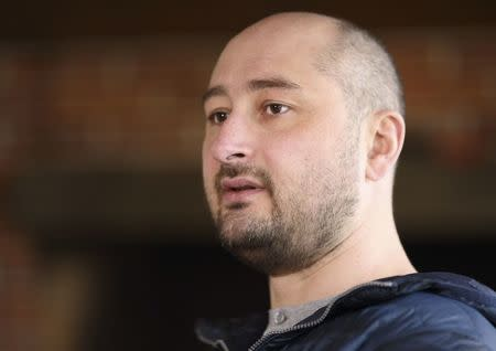 Russian journalist Babchenko attends an interview in Kiev