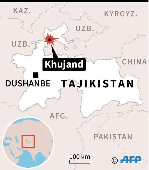 Map of Tajikistan locating prison riot in Khujand