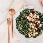 Kale Pomegranate Chicken Caesar Salad with Pumpkin Seeds for a Healthy Thanksgiving Side Dish