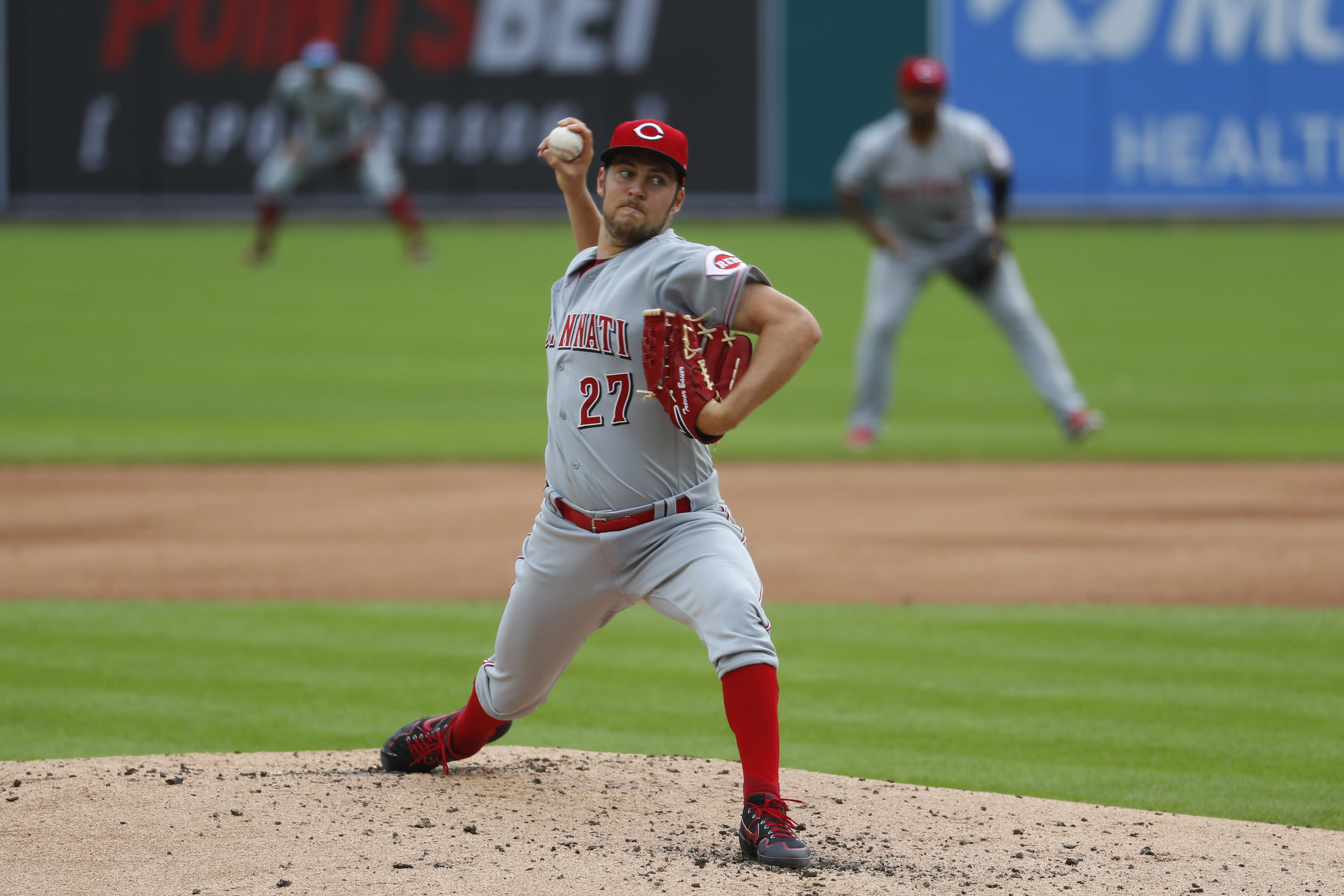 Cincinnati Reds pitcher Trevor Bauer throws to a Detroit Tigers batter during the first inning of the second baseball game of a doubleheader in Detroit, Sunday, Aug. 2, 2020. (AP Photo/Paul Sancya)