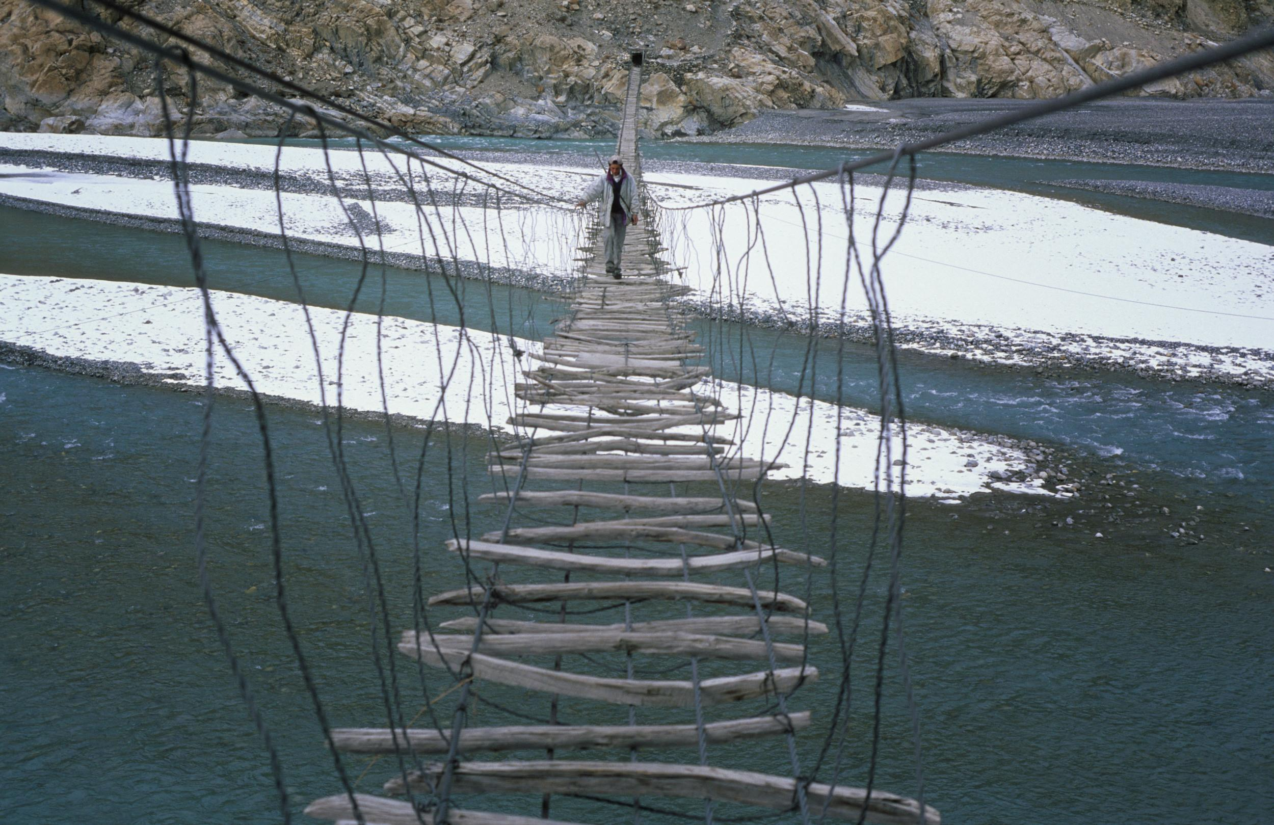 Even the bravest of thrill seekers will think twice before crossing this bridge in Pakistan, but for locals in the Hunza Valley, a walk across Hussaini Bridge is the only option if they want to reach a nearby town. Located above Lake Borit, the hanging bridge has huge gaps between the planks and a wild side-to-side swing. Those who dare to look up while crossing the bridge, can take in the magnificent views of snow-capped mountains.
