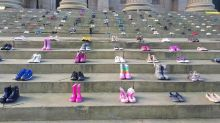Charity displays hundreds of shoes to raise awareness of child suicide