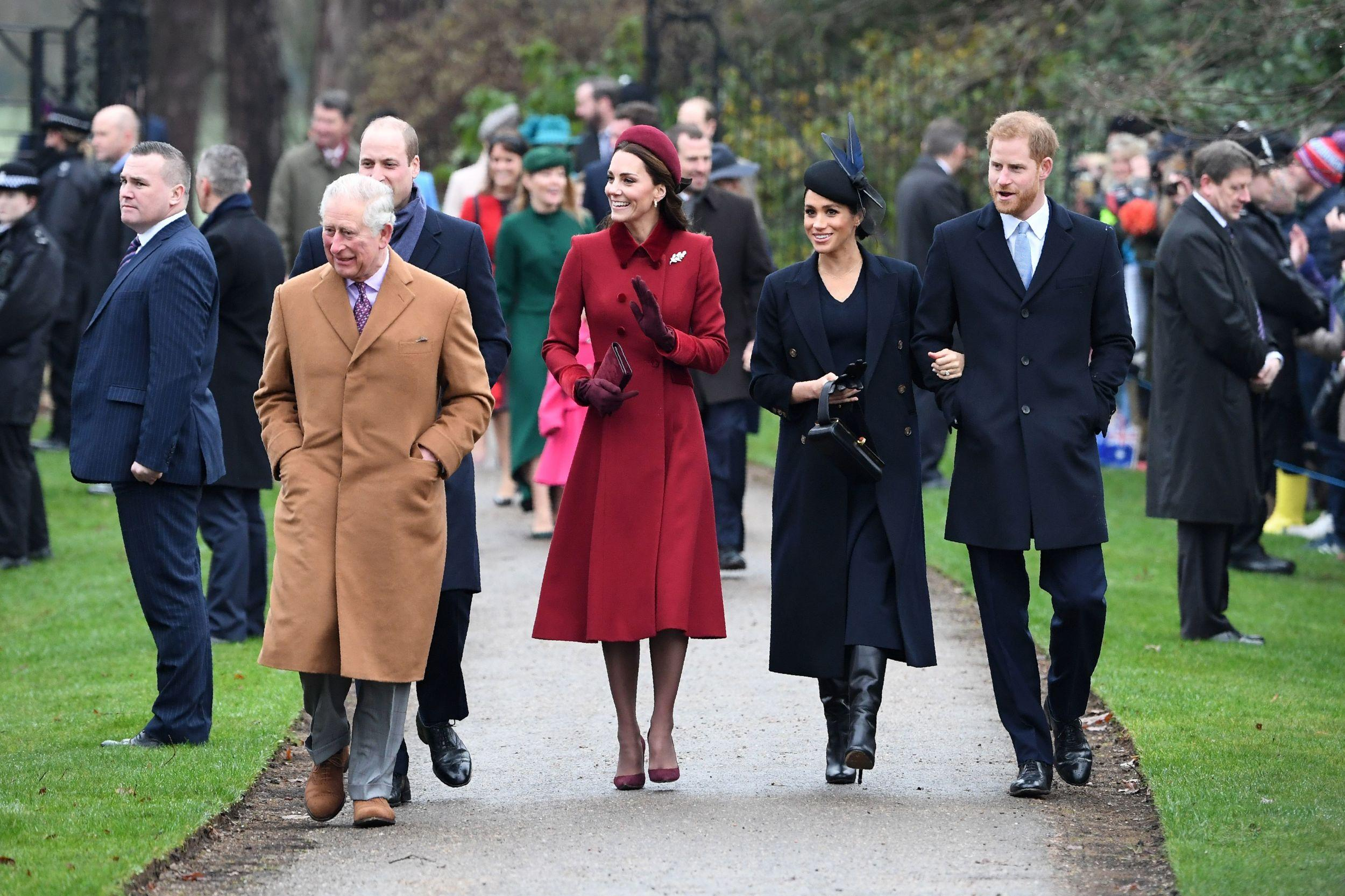 (L-R) Britain's Prince Charles, Prince of Wales, Britain's Prince William, Duke of Cambridge, Britain's Catherine, Duchess of Cambridge, Meghan, Duchess of Sussex and Britain's Prince Harry, Duke of Sussex arrive for the Royal Family's traditional Christmas Day service at St Mary Magdalene Church in Sandringham, Norfolk, eastern England, on December 25, 2018. (Photo by Paul ELLIS / AFP) (Photo credit should read PAUL ELLIS/AFP/Getty Images)