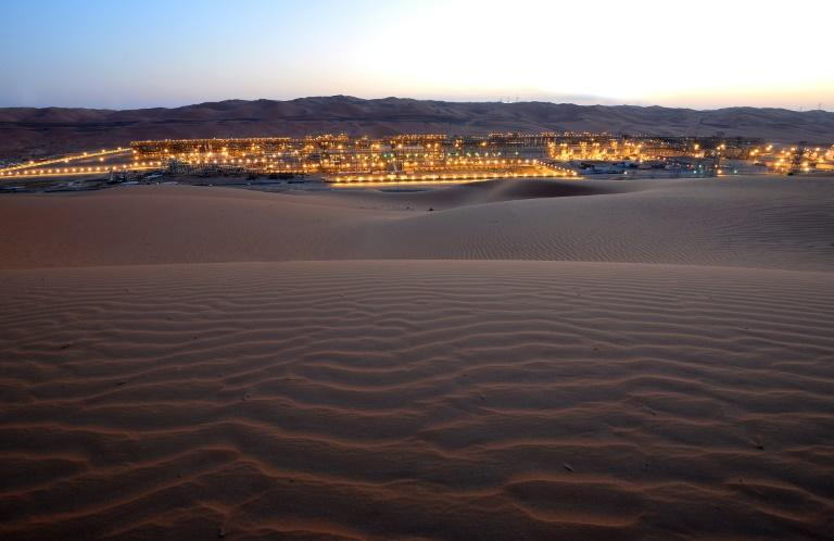 A file picture provided by energy giant Saudi Aramco shows its Shaybah Producing and Shaybah NGL in eastern Saudi Arabia