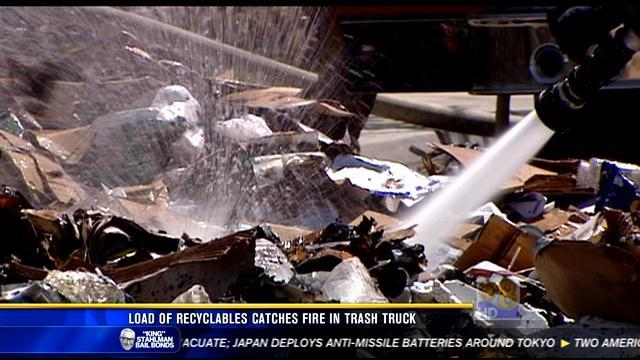 Load of recyclables catches fire in trash truck in Sorrento Valley