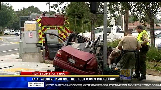 Fatal accident involving fire truck closes intersection in Poway