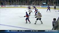 Zdeno Chara scores past Poulin from blue line