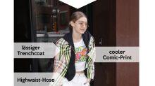 Look des Tages: Gigi Hadid im Neon-Trenchcoat