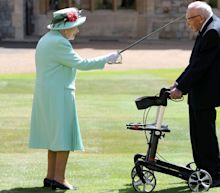 Captain Tom Moore knighted by the Queen and jokes: 'If I kneel down I'll never get up again'