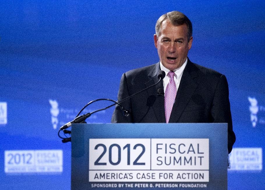 House Speaker John Boehner of Ohio, speaks at the Peter G. Peterson Foundation's 2012 Fiscal Summit, Tuesday, May 15, 2012, in Washington. (AP Photo/Manuel Balce Ceneta)