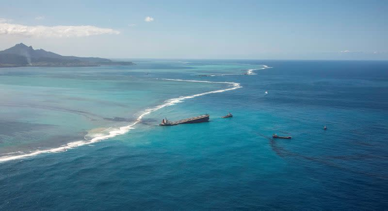 A general view shows the bulk carrier ship MV Wakashio, that ran aground on a reef, at Riviere des Creoles