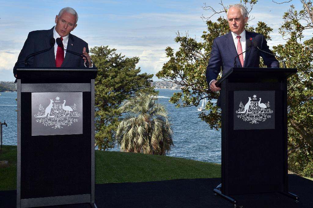 """US Vice President Mike Pence (L) and Australia's Prime Minister Malcolm Turnbull renewed calls for Beijing to use its """"unique"""" position to bring Pyongyang to heel (AFP Photo/Saeed KHAN)"""