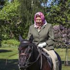 Queen Elizabeth, 94, is back in the saddle, riding her pony without a helmet at Windsor Castle