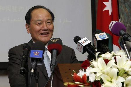 Wu Sike, China's Middle East Envoy, talks during his news conference in Amman