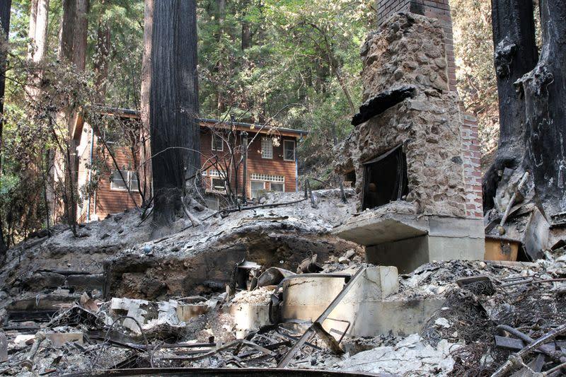 CZU Lightning Complex fire, in Brookdale, California