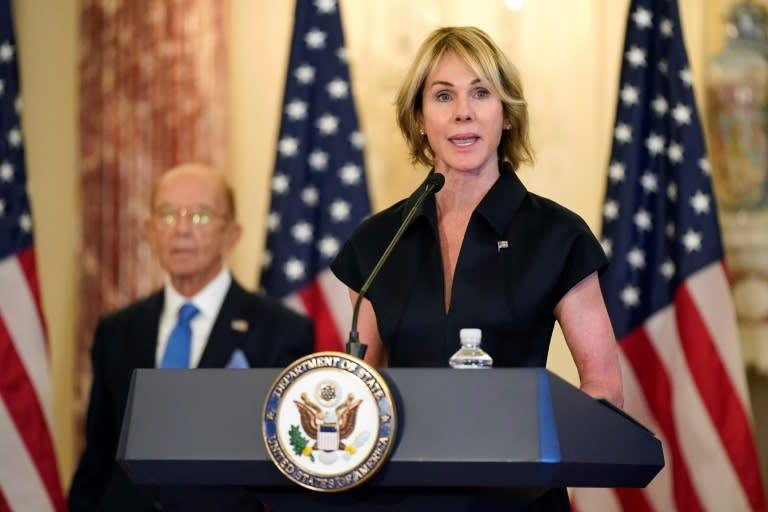 美国驻联合国大使凯利·克拉夫特(Kelly Craft)在2020年9月21日的华盛顿新闻发布会上讲话时,在安理会会议上以严厉的言论使外交官感到惊讶