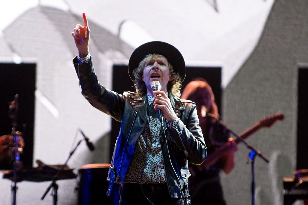 """US musician Beck -- seen here performing at the Festival d'Ete in Quebec City on July 12, 2018 -- won the Grammy for Best Alternative Album for """"Colors"""""""