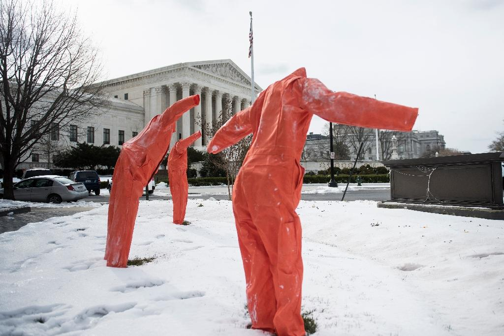 German drug maker Fresenius Kabi tried to stop its drugs being used in a lethal injection execution, seen here being protested against near the US Supreme Court in March 2017