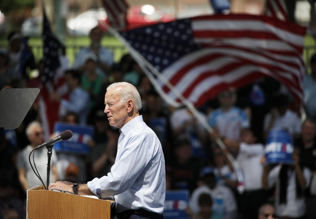 Former US vice president Joe Biden speaks during the first major rally of his presidential campaign in Philadelphia, Pennsylvania on May 18, 2019 (AFP Photo/Dominick Reuter)