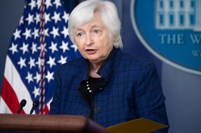 US Treasury Secretary Janet Yellen speaks during the daily press briefing on May 7, 2021, in the Brady Briefing Room of the White House in Washington, DC. (Photo by SAUL LOEB / AFP) (Photo by SAUL LOEB/AFP via Getty Images)