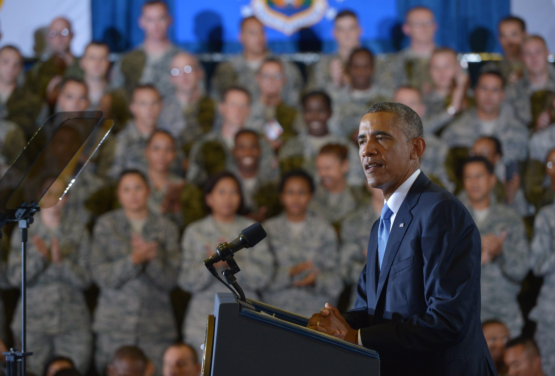 US President Barack Obama speaks at MacDill Air Force Base in Tampa, Florida on September 17, 2014 (AFP Photo/Mandel Ngan)