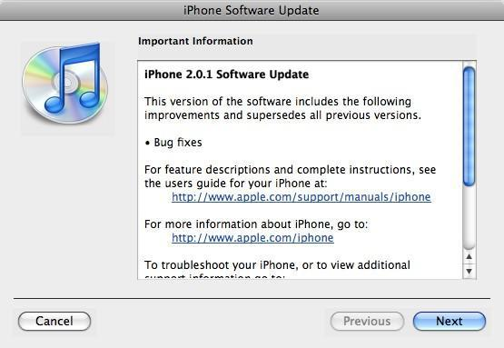 iPhone 2.0.1 now available through iTunes