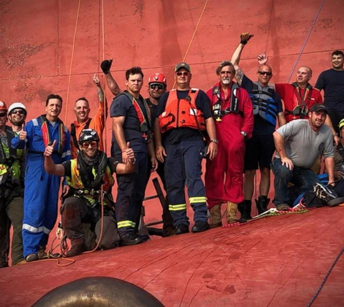 Rescuer describes saving crew on capsized ship