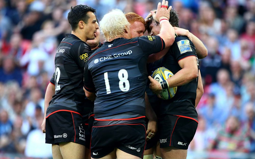 Saracens celebrate their third try at Wembley against Harlequins - Getty Images Europe