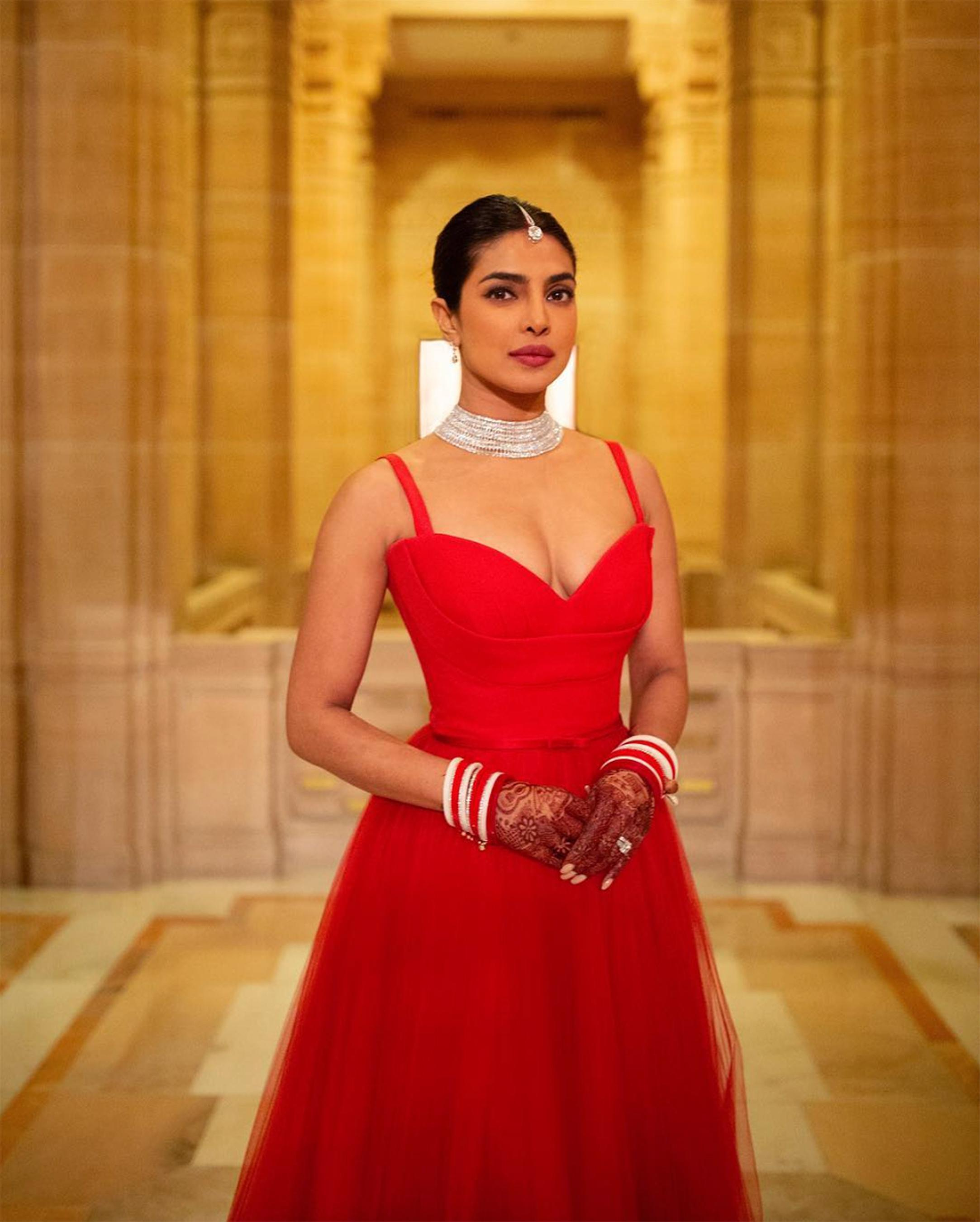 See The Red Dior Dress Priyanka Chopra Wore For Her Indian