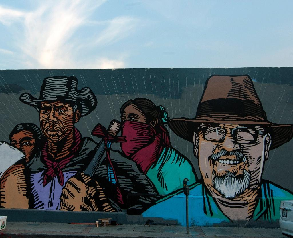 View of a mural painted by artists in memory of Mexican journalist Javier Valdez in Monterrey