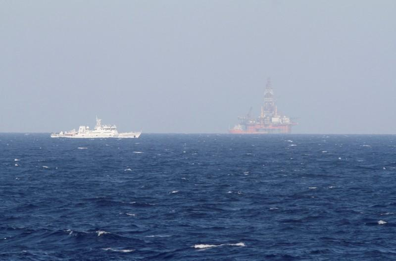 FILE PHOTO: File photo of oil rig which China calls Haiyang Shiyou 981, and Vietnam refers to as Hai Duong 981, is seen in the South China Sea, off the shore of Vietnam