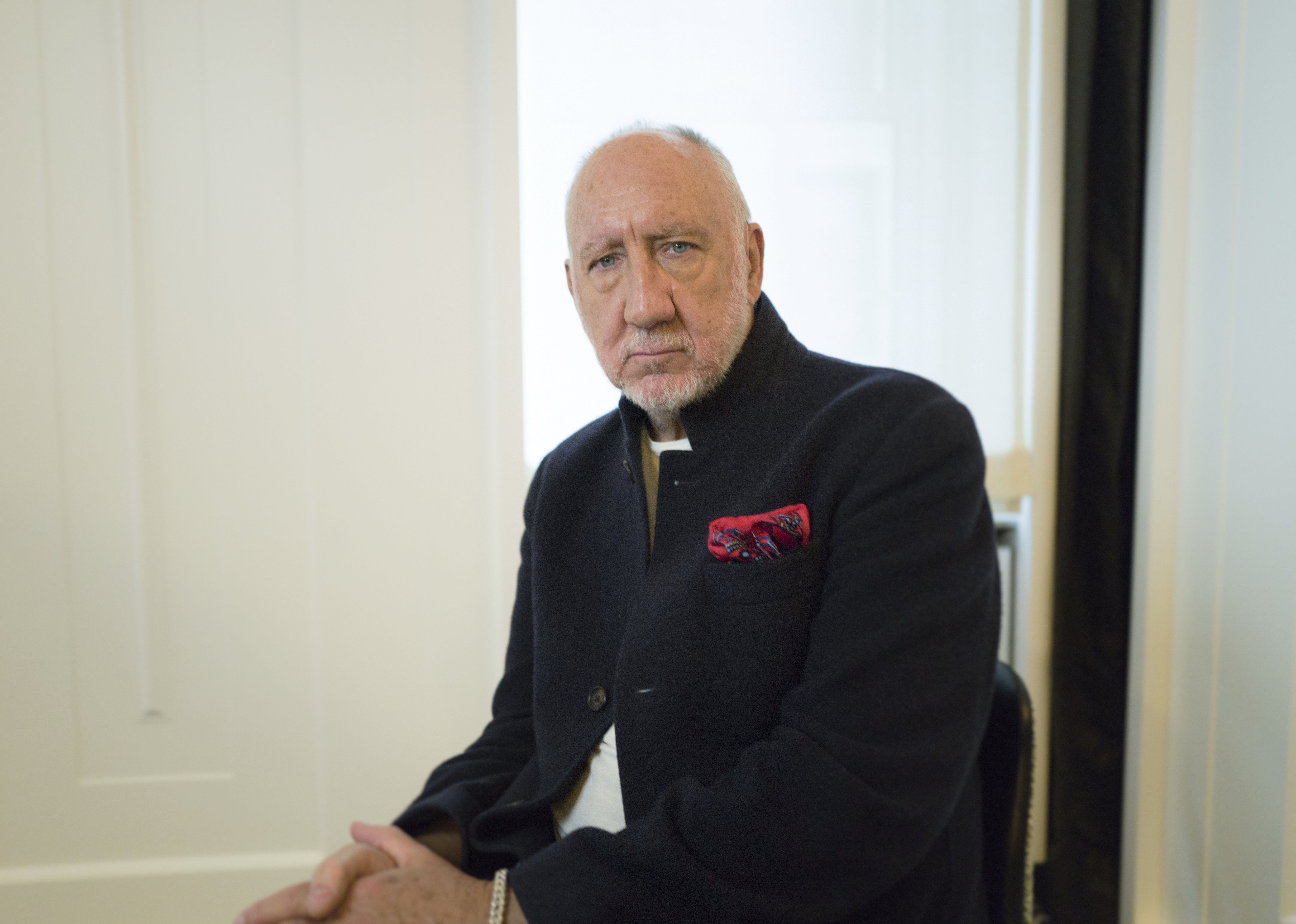 """This Oct. 31, 2019 photo shows author-singer Pete Townshend posing for a portrait in New York to promote his debut novel """"The Age of Anxiety."""" Townshend, a member of the British rock band The Who, said the band plans to return to Cincinnati for the first time since the 1979 tragedy where 11 fans died in a frantic stampede at their concert. (Photo by Matt Licari/Invision/AP)"""