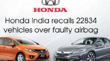 Honda India recalls 22834 vehicles over faulty airbag
