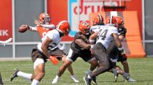 Watch Jarvis Landry's catch a long TD pass from Baker Mayfield, Kareem Hunt take it to the house & other highlights from Cleveland Browns training camp Day 1