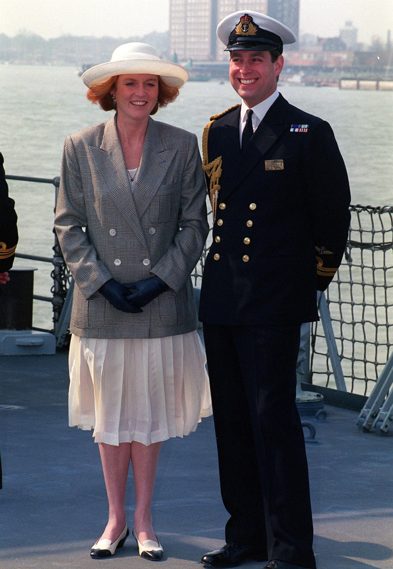 The Duke and Duchess of York onboard HMS Cambeltown in Portsmouth Harbour prior to a days sailing in the channel with the Queen and the Duke of Edinburgh.