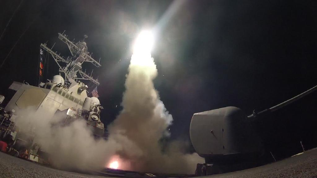 """US President Donald Trump ordered a military strike on a Syrian air base on April 6, 2017, in retaliation for a """"barbaric"""" chemical attack he blamed on Syrian president Bashar al-Assad"""