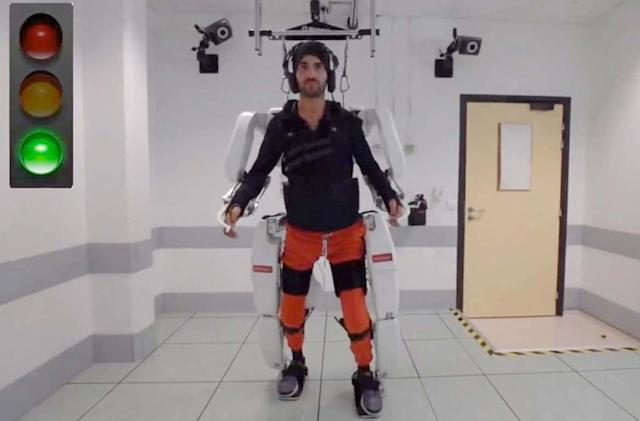 A mind-controlled exoskeleton helped a paralyzed man walk again