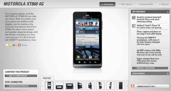 Motorola XT860 4G is the Droid 3's curling loving cousin for Bell
