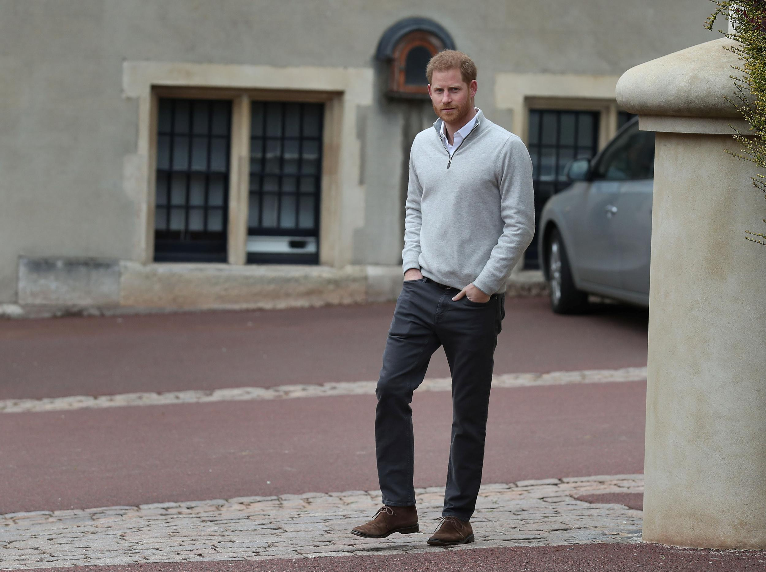 Britain's Prince Harry walks up to the awaiting media after Meghan, Duchess of Sussex, gave birth to a baby boy, at Windsor Castle, Berkshire county, Britain May 6, 2019. Steve Parsons/Pool via REUTERS