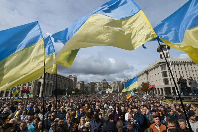 """The protesters chanted """"No to surrender!"""" as they descended on Kiev's Independence Square (AFP Photo/Genya SAVILOV)"""