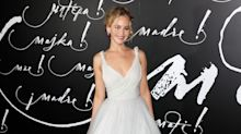 J-Law wore a wedding dress on the red carpet