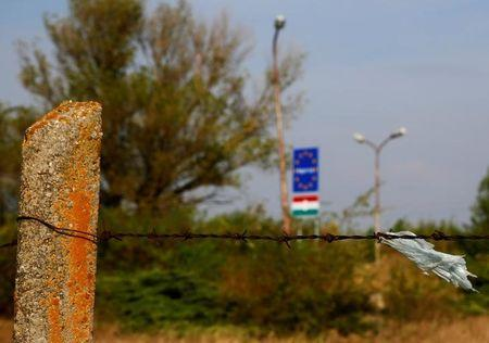 A barbed wire is seen at the Austrian-Hungarian border near Nickelsdorf, Austria, September 19, 2016. REUTERS/Leonhard Foeger