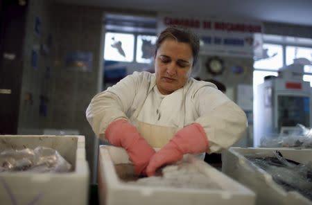 Sonia Silva, 41, works at her fish stall in Almada's market, near Lisbon, Portugal November 18, 2015. REUTERS/Rafael Marchante
