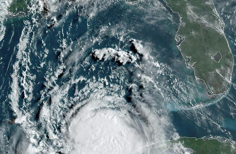 Hurricane Laura in the Gulf of Mexico moving towards Louisiana at 13:00 UTC on August 25, 2020