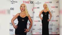 Christina Aguilera Shows Off Her Slim Figure in a Cutout Dress