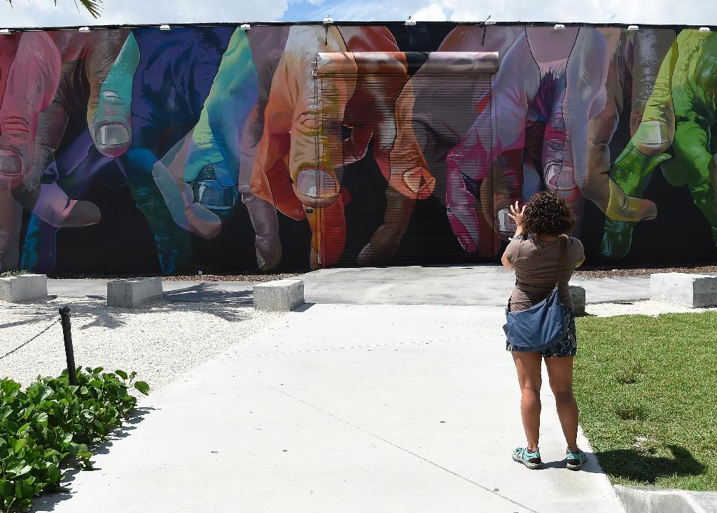 A woman takes a photo of a mural by German artist Case in Wynwood, Miami, Florida, on September 28, 2016 (AFP Photo/Rhona Wise)